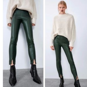 NWT Zara forest green faux leather pants